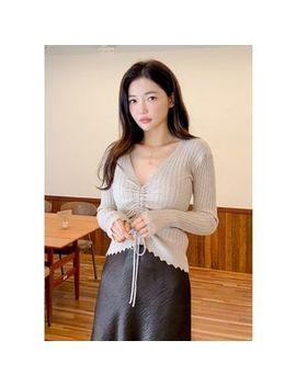 Chuu   Plunge Neck Drawcord Sweater by Chuu