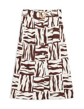 Zebra Linen Blend Midi Skirt by Topshop