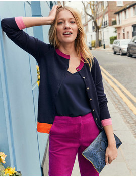 Cashmere Crew Cardigan   Navy Colourblock by Boden