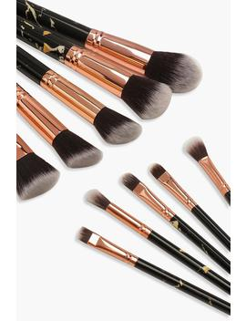 10 Piece Gold And Black Marble Brush Set by Boohoo
