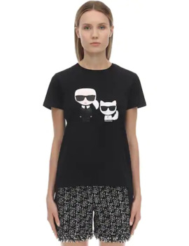 Printed Cotton Jersey T Shirt by Karl Lagerfeld