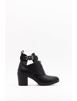 Cut Out Of The Way Faux Leather Heeled Boots by Nasty Gal