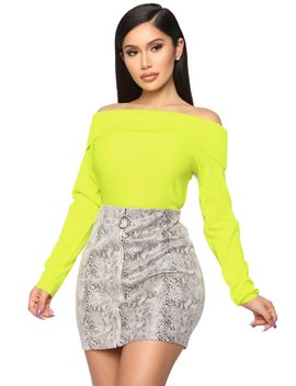 You're A Doll Off Shoulder Top   Neon Yellow by Fashion Nova