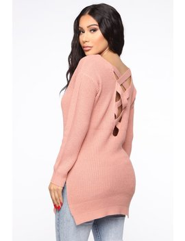 Georgina Caged Back Sweater   Mauve by Fashion Nova