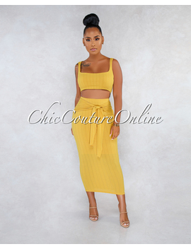 Marceline Mustard Ribbed Front Tie Skirt Two Piece Set by Chic Couture