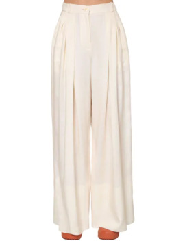 Pleated Wide Leg Viscose Canvas Pants by Jacquemus