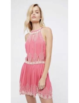 New Free People Pink Halter Beaded Mini Dress Embellished Size Medium M Boho by Free People