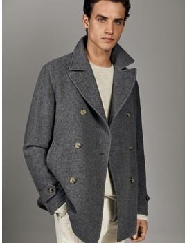 100 Percents Wool Herringbone Peacoat by Massimo Dutti