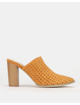 Plum Slip On Block Heel Mustard by Plum