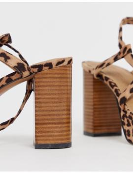 Asos Design Wide Fit Walker Platform Heeled Sandals by Asos Design