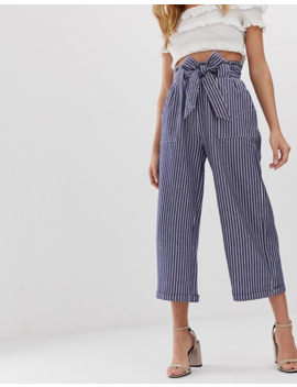 Only Chambray Stripe Tie Waist Pants by Only's