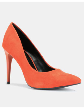 New Look Yummy Suedette Pointed Court Shoes Burnt Orange by New Look
