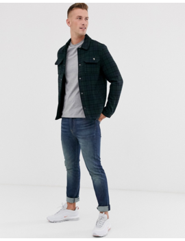 Farah Laurie Check Melton Wool Jacket In Navy by Farah