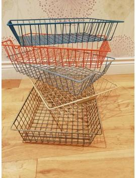 Vintage Wire Basket Desk In Out Tray Storage File Paper Industrial Metal Office Retro Letter Rack by Etsy