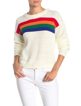 Rainbow Stripe Knit Pullover Sweater by Love By Design