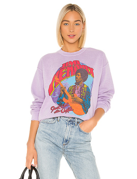 Jimi Hendrix Just Ask The Axis Crew Fleece In Lilac by Madeworn