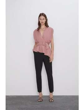 Blusa Cruzada Com Cinto Ver Tudo Camisas E Blusas Mulher by Zara