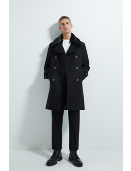 Coat With Faux Fur Trim  New Inman by Zara