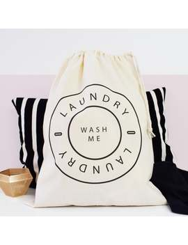 Home And Travel Laundry Bag, Wash Me, Laundry Bag, Drawcord Cotton Bag, Kids Room Storage Bag, 100% Cotton by Etsy