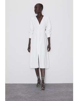 Vestido Com Decote Em Bico Ver Tudo Vestidos Mulher by Zara