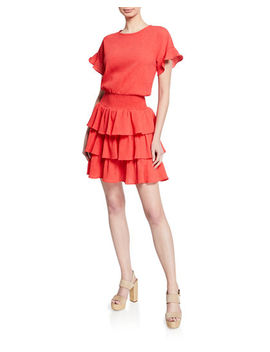 Pucker Tiered Smocked T Shirt Dress by Michael Michael Kors