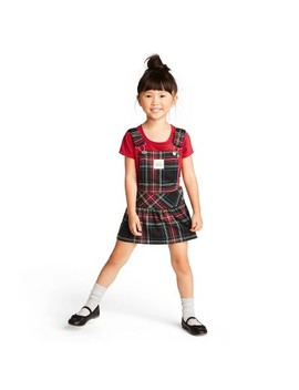 Toddler Girls' Plaid Sleeveless Jumper Mini Dress   Harajuku Mini For Target Red/Black by Harajuku Mini For Target