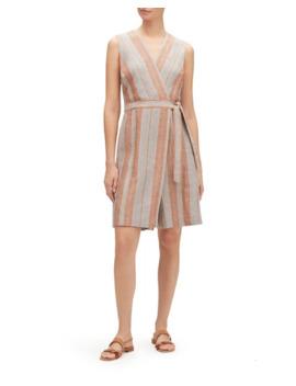 Lafayette 148 New York Oaklyn Lombardy Stripe Wrap Front Sleeveless Linen Jumpsuit by Lafayette 148 New York