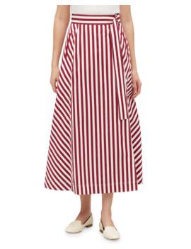 Lafayette 148 New York Nimah Strada Stripe Midi Cotton Skirt by Lafayette 148 New York
