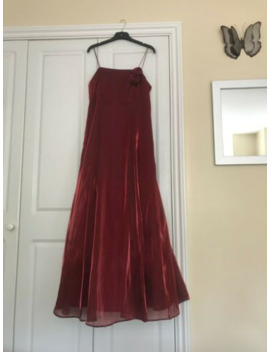 Debut Deep Red Sleeveless Flowly Prom Dress Size 10 With Rose Detail And Shawl by Ebay Seller