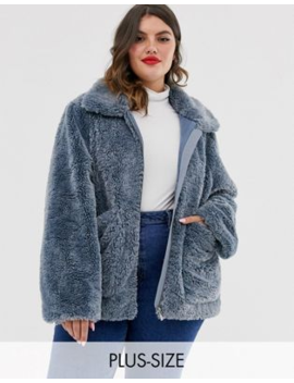 Urban Bliss Plus Zip Through Faux Fur Coat With Deep Cuffs by Urban Bliss'
