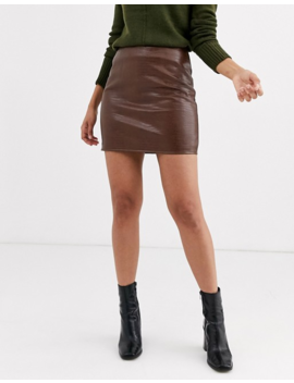 Warehouse Mini Skirt In Brown Croc Pu by Warehouse