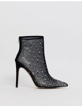 Pretty Little Thing Pointed Heeled Boots With Diamante Embellishment In Black by Pretty Little Thing
