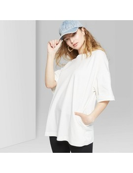 Women's Oversized Elbow Sleeve Crew Neck T Shirt  Wild Fable™ Almond Cream by Wild Fable