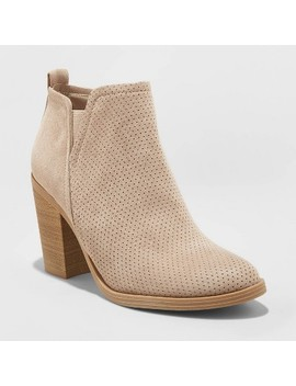 Women's Avalyn Microsuede Laser Cut Bootie   Universal Thread™ Taupe by Universal Thread