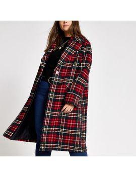 Plus Red Tartan Check Longline Coat by River Island