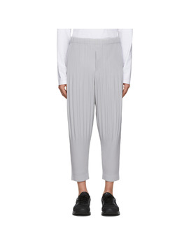 Grey Pleated Basics Trousers by Homme PlissÉ Issey Miyake