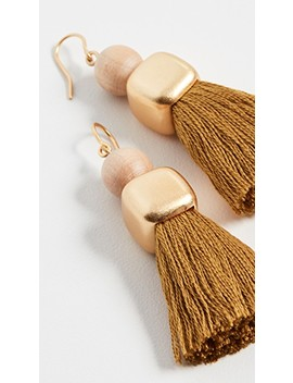 Wood Bead And Tassel Earrings by Madewell