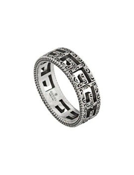 Silver Ring With Square G by Gucci