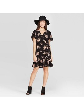 Women's Floral Print Short Sleeve V Neck Neck Ruffle Bottom Wrap Mini Dress   Xhilaration™ Black by Xhilaration