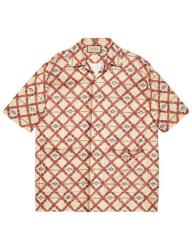 Oversized Bowling Print Shirt by Gucci