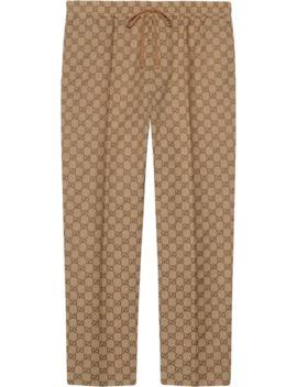 Gg Print Drawstring Trousers by Gucci