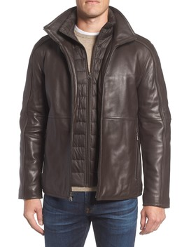 Quilted Insert Leather Jacket by Andrew Marc