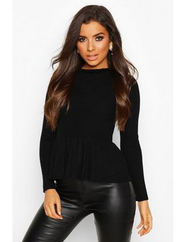 Ruffle Neck Peplum Knitted Top by Boohoo