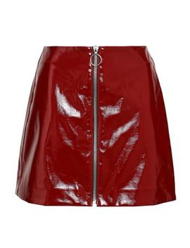 Zip Detailed Crinkled Vinyl Mini Skirt by Nicholas