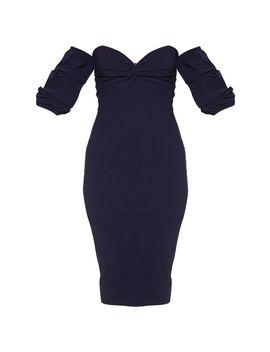 Midnight Blue Bardot Twist Detail Midi Dress by Prettylittlething