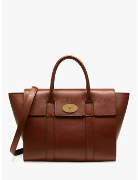 Mulberry Bayswater With Strap Grain Veg Tanned Leather Bag, Oak by Mulberry