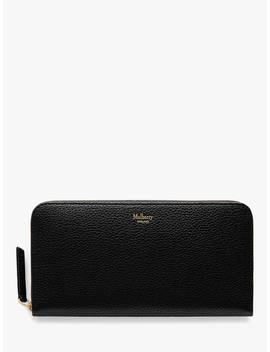 Mulberry Small Classic Grain Leather 12 Card Zip Around Wallet, Black by Mulberry