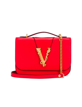 Leather Tribute Crossbody Bag by Versace