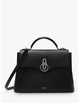 Mulberry Small Seaton Classic Grain Leather Shoulder Bag, Black/Silver by Mulberry