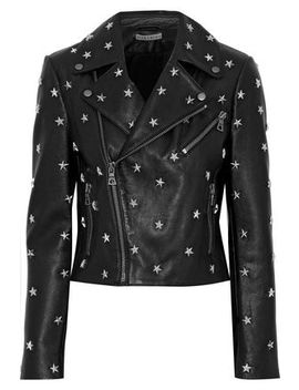 Cody Studded Leather Biker Jacket by Alice + Olivia